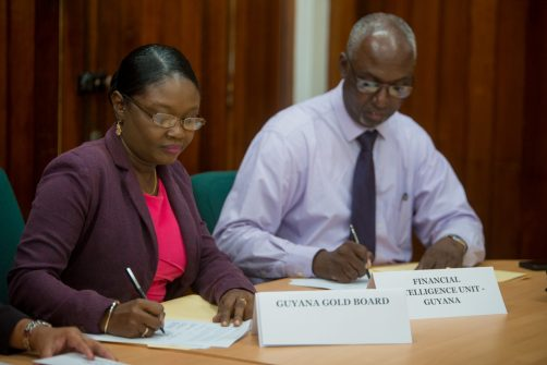 Eondrene Thomas of the Guyana Gold board establishes agreement with the FIU.