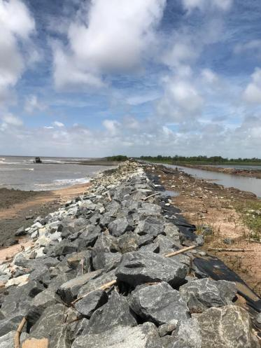 Tons of boulders laid to rebuild sea defence at Danzigt