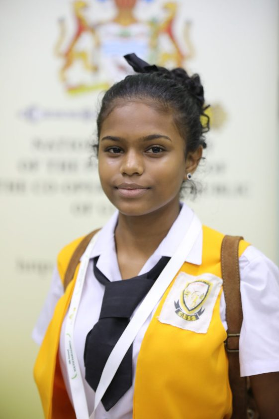 Youth Parliamentarian, Breanna Ramnarain, who was Leader of the Opposition and awarded 'Best Speaker' at 5th Annual National Youth Parliament