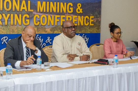 Minister of Natural Resources, Hon. Raphael Trotman, GGMC Commissioner, Newell Dennison and Chairperson of the day's proceeding Marissa Gordon at the opening of the Mining and Quarrying Conference and Award Ceremony at the Pegasus Hotel.