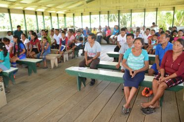 Residents of Kako Village, in Region 7 gathered for a meeting with Member of Parliament, Hon. Mervyn Williams