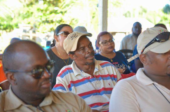 Minister of Communities, Hon. Ronald Bulkan address residents Mahdia residents during a public meeting at Kanawaruk Junction, Region 8