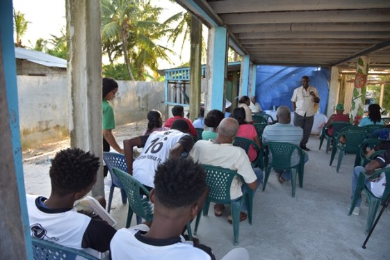 Minister of Citizenship, Hon. Winston Felix address residents of DeKinderen.