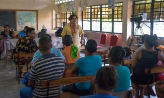 Minister Garrido-Lowe Meets addressing residents of Siparuta.
