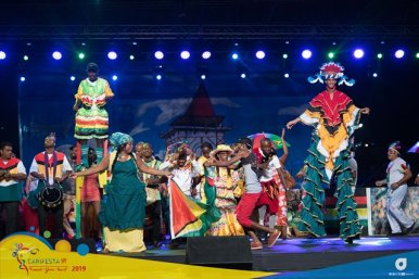 """The Grand Finale of Guyana's """"A year in a day' presentation during Guyana Night at CARIFESTA XIV."""
