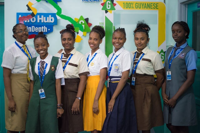 [In the photo, from left to right] Salome Ross of Queen's College, Aseya Cliffe from Bishops' High School, Mariah Orderson of Tutorial High School, Serena Sealey from Brickdam Secondary School, Kayla Alexander of Central High, Kezia Jerome from Tutorial High School and Kelly Gurrick of St. Stanislaus College.