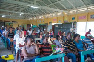 A section of the audience at the community meeting in Fyrish, West Coast of Berbice.