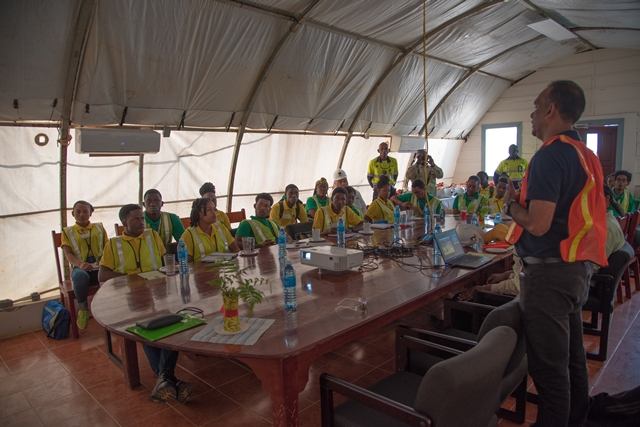 Youth in Natural Resources (YNR) Apprentices going through the safety brief at AGM.
