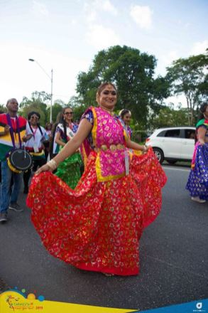 Scenes from CARIFESTA XIV in Trinidad and Tobago as the Guyana delegation participates in the 'Parade of Nations'.