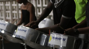 A section of the West Demerara Secondary School Steel Pan Orchestra.