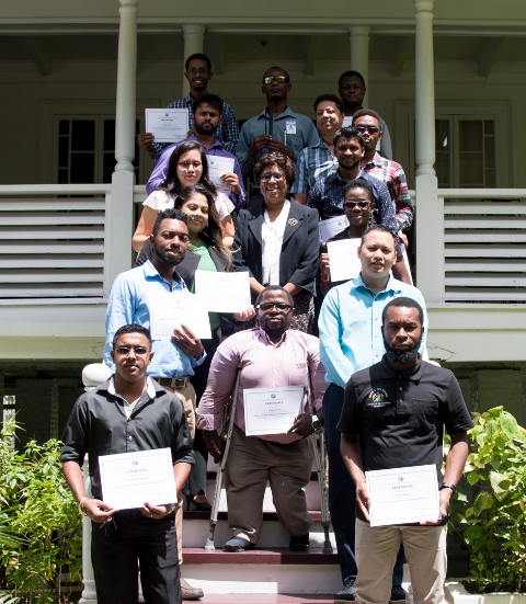 Minister of Public Telecommunications, Hon. Catherine Hughes, along with several participants of the National Capacity Building on Web Accessibility program.