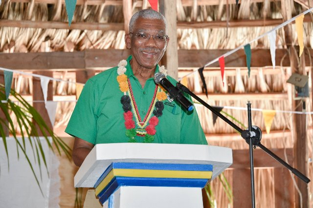 President David Granger delivering his address at Heritage 2019 celebrations in the St. Cuthbert's Mission
