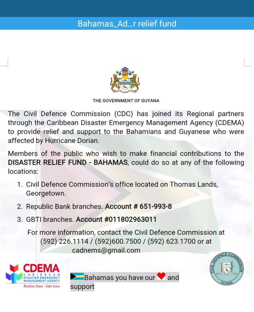 DISASTER RELIEF FUND – BAHAMAS – Department of Public