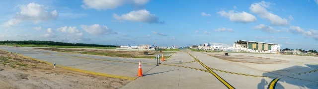 Pano Taxiway Foxtrot at Eugene F. Correia International Airport.