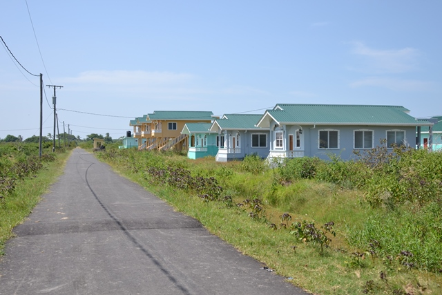 The newly rehabilitated road at the Experiment Housing Scheme, West Coast of Berbice (WCB).