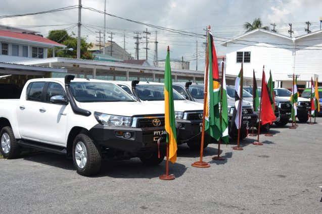 The six vehicles handed over to the various regions