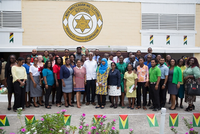 His Excellency, President David Granger along with the staff of the New Amsterdam Multilateral School.