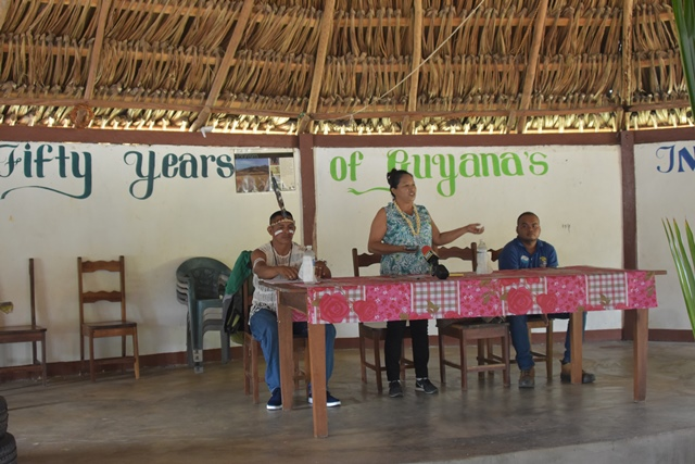 Minister of State, Hon. Dawn Hastings-Williams addressing the residents of Massara