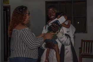 Relatives happily greeted the Coopers after their arrival at the Cheddi Jagan International Airport (CJIA), last evening