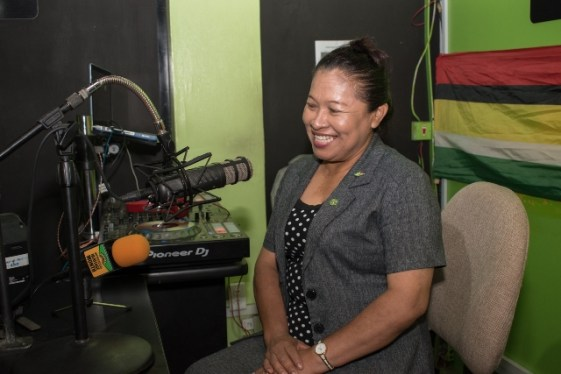 Minister of State, Hon. Dawn Hastings-Williams in the studio of NCN's Vybz 100.1