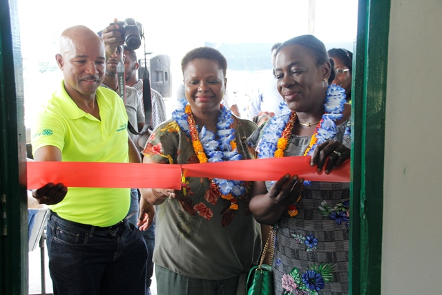 Cutting the ceremonial ribbon to commission the centre was (from left) President of Rotary Club Georgetown Central, Mr. William Andrew Boyle, Minister of Public Health, Hon. Volda Lawrence and Minister of Education, Dr. the Hon. Nicolette Henry