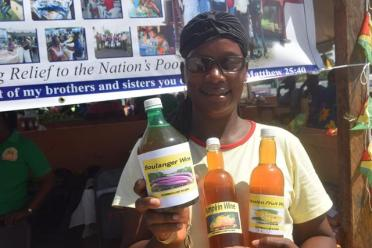 Boulanger wine produced and sold by the Women for Change agro-processors group of Bel Air Village West Coast Berbice