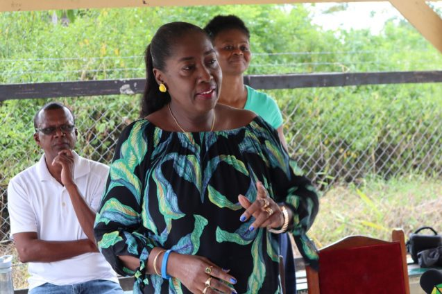 Minister within the Ministry of Agriculture, with responsibility for Rural Affairs, Hon. Valerie Adams-Yearwood addresses the small gathering at the handing over ceremony