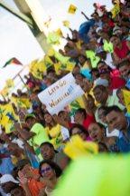 Capacity crowd at the Guyana National Stadium celebrating the Guyana Amazon Warriors victory.