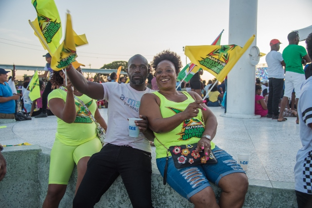Patriotic Guyanese celebrating the Guyana Amazon Warriors unprecedented run in the 2019 Caribbean Premier League Finals at the D'Urban Park.
