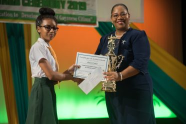 CSEC Special Recognition awardee Anisa Carter, former South Ruimveldt Secondary Student receives her award.