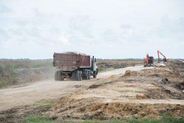 Truck transporting boulders to Dantzig foreshore.