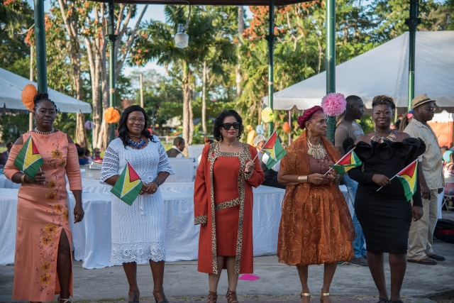 Some of the participants of the fashion show held at tea party and concert at the Botanical Gardens.