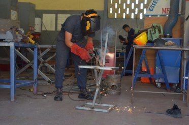 Some of the welding and fabrication students attached to the Essequibo Technical Institute.