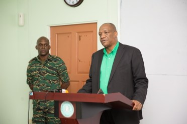 [In the photo, from left to right] Director-General of the Civil Defence Commission (CDC), Lt. Col. Kester Craig and Director-General of the Ministry of the Presidency, Joseph Harmon.