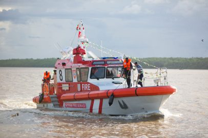 The fire boat 'Protector' on the Demerara River displaying some of its features.