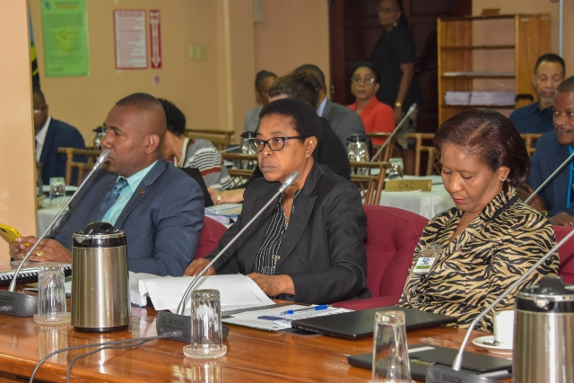 CARICOM Education Ministers at the opening meeting of the 38th Council of Human and Social Development at the CARICOM Secretariat on Wednesday morning.