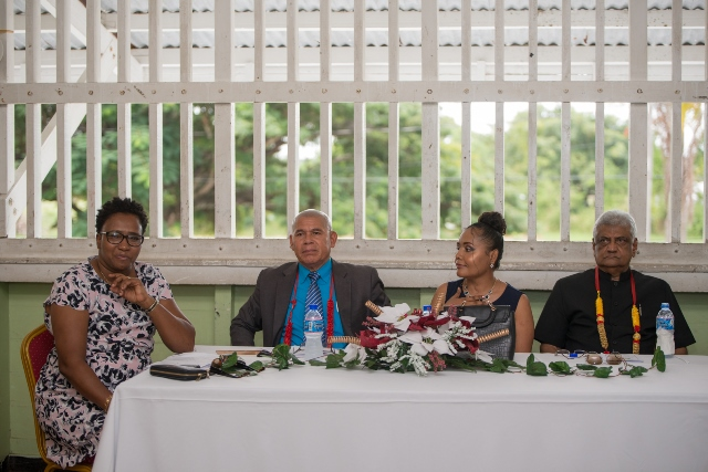 [In the photo, from left to right] Minister within Ministry of Communities, with responsibilities for Housing, Hon. Annette Ferguson, Minister of Social Cohesion, Hon. Dr. George Norton, Headteacher of Richard Ishmael Secondary School, Melanie Jones and Former Chairman of the Guyana Elections Commission (GECOM), Dr. Steve Surujbally.