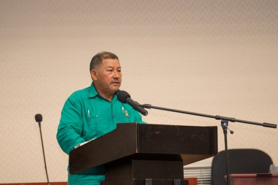Minister of Indigenous Peoples' Affairs, Hon. Sydney Allicock addressing the NTC.