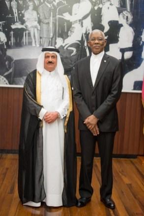 H.E President David Granger and Ambassador H.E. Al-Abdulla.