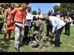 His Excellency, President David Granger, Prime Minister, Hon. Moses Nagamootoo, Minister of Indigenous Peoples' Affairs, Hon. Sydney Allicock along with Former NTC Chairman, Nicholas Fredricks, turning the sod for the NTC secretariat.