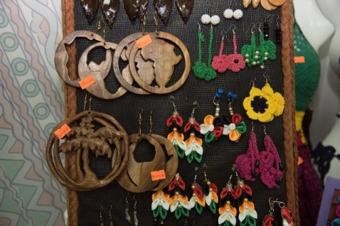 Craft pieces on display.
