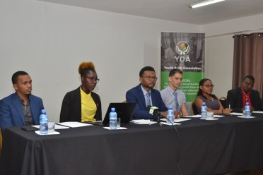 Executive members of the Youth and Oil Association, during the launch on Thursday.