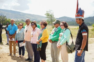 First Lady, Her Excellency, Sandra Granger, Minister of Indigenous Peoples' Affairs, Hon. Sydney Allicock and Minister within the Ministry of Indigenous Peoples', Hon. Valerie Garrido-Lowe, Minister of Finance, Hon. Winston Jordan, Minister of Public Telecommunications, Hon. Catherine Hughes and Minister of Communities, Hon. Ronald Bulkan and Consul General for Guyana to Brazil, Shirley Melvill and Toshao of Monkey Mountain, Lincoln Singh at the commissioning of the lapidary.