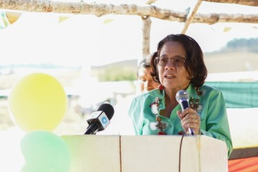 First Lady, Her Excellency, Sandra Granger addressing the audience.