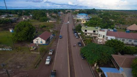 An aerial view of the newly commissioned Barrack Retreat Corridor road in Lethem