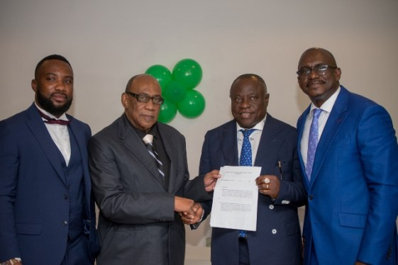 [In the photo, from left] Unicon Western Holdings, Mark Lord Ebbah C.O.O, Arlington Chesney, Founder and Chief Executive Officer of Unicon Western Holdings, John Bonny, and CARICOM Ambassador and Director of UGI, Dr. Patrick Antoine.