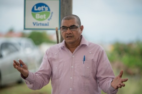 Minister of Business, Hon. Haimraj Rajkumar as he speaks to the residents of Number #66 Village, Berbice.