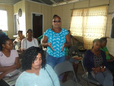 A resident voicing her concern at the community meeting