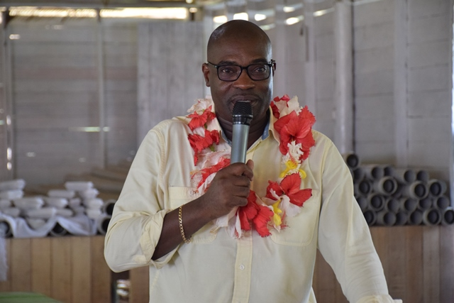 Minister of Public Infrastructure, Hon. David Patterson during his address to residents in Orealla