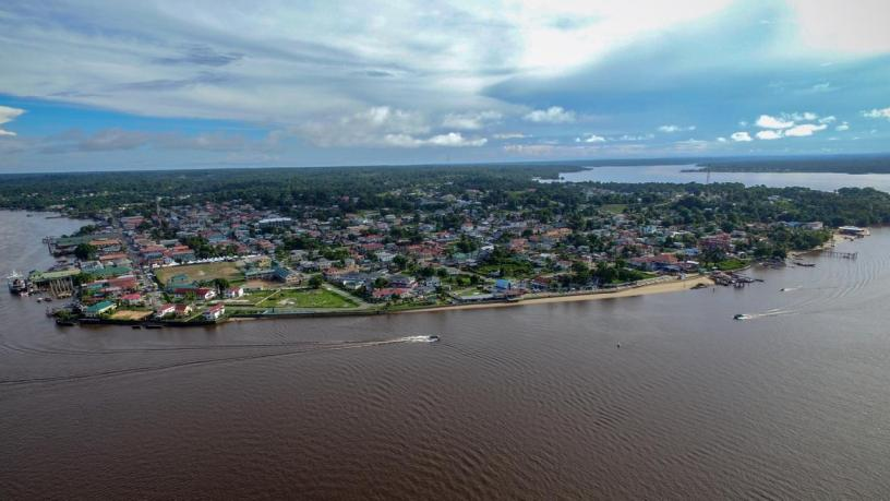 The township of Bartica which lies at the which lies at the confluence of the Essequibo, Cuyuni and Mazaruni Rivers